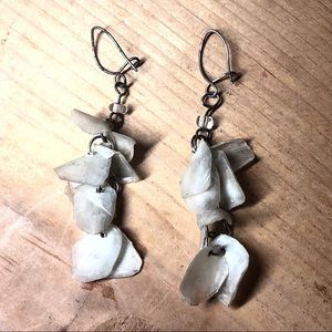 Dangling white iridescent shell and wire earrings